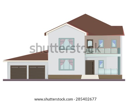 Vector picture of two floor house