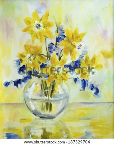 Vector picture oil paints on a canvas: a bouquet of daffodils in a glass vase - stock vector