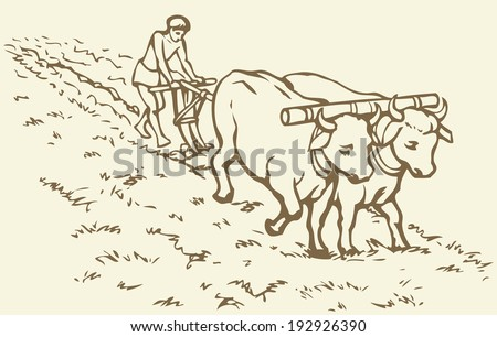 Vector picture. Primitive agriculture ancient Asian and African world: Egypt, Assyria, Babylon, India, China. Young servant on a pair of oxen-drawn plow grassy virgin soil for sowing wheat seeds - stock vector