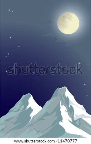 Vector picture - the moon and mountains at night