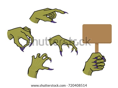 Vector pictures of zombie`s hands