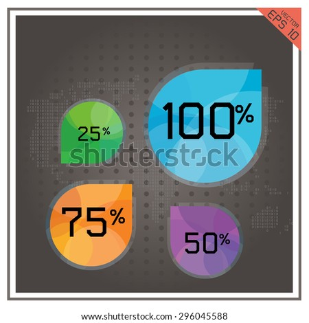 vector pie chart business button number percent map world - stock vector