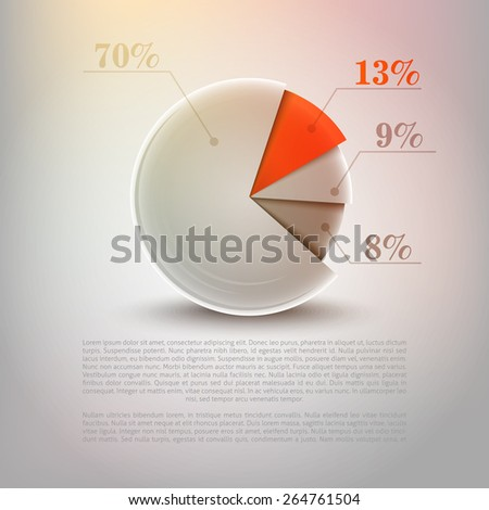 Vector pie chart graphic for business design, infographics, reports or workflow layout. clean, fresh and modern style - stock vector