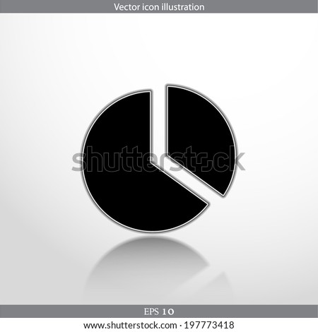 Vector pie chart web flat icon. Isolated on white. - stock vector