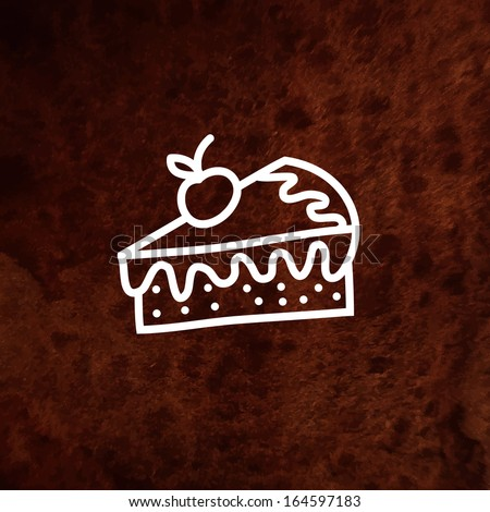 Vector piece of  cake with fresh berry on watercolor background. Vector illustration. Vector design element on textured paper. Can be used for web and printing. Hand drawn design element.