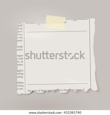 Vector piece of newspaper with adhesive tape. - stock vector