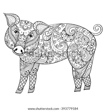 Vector  Pig. Zentangle Pig illustration, Swine print for adult anti stress coloring page. Hand drawn artistically ornamental patterned decorative animal for tattoo, boho design - stock vector