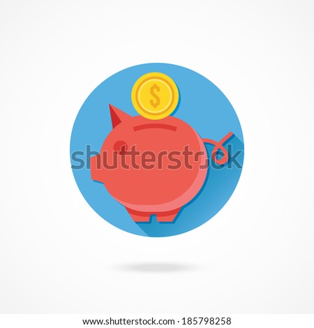 Vector Piggy Bank and Gold Coin Icon - stock vector