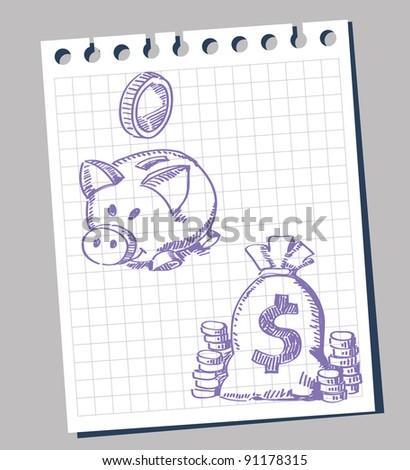 vector piggy bank and money - stock vector