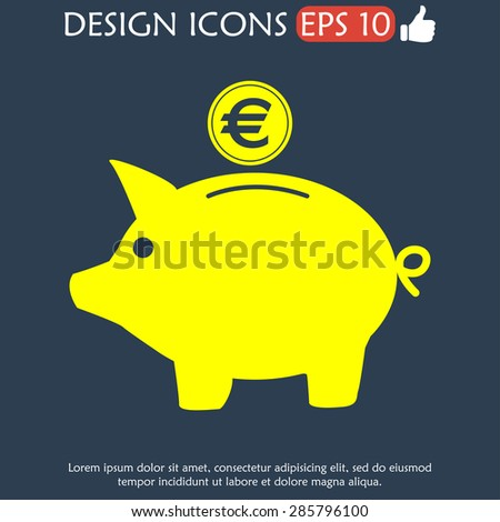 Vector piggy bank icon. Flat Vector illustration - stock vector