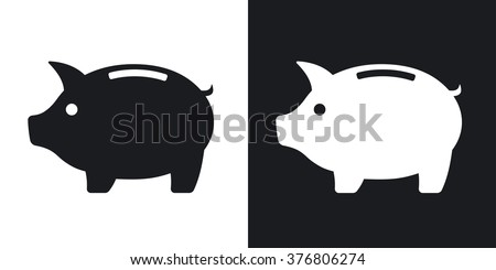 Vector piggy bank icon. Two-tone version on black and white background