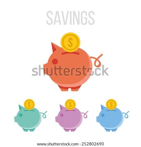 Vector piggy bank icons. - stock vector