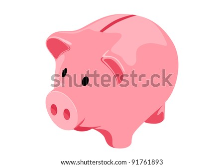 Vector Piggy bank on white background - stock vector