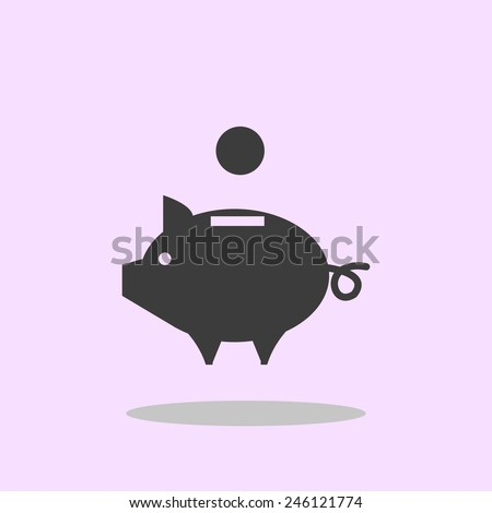vector piggy money bank icon - stock vector