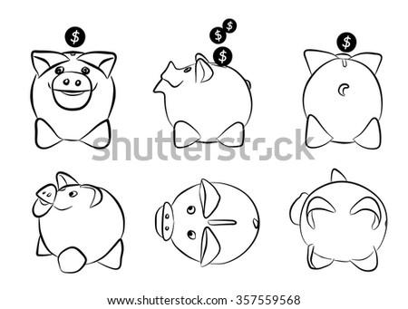 Vector Piggy Moneybox With Coins. - stock vector