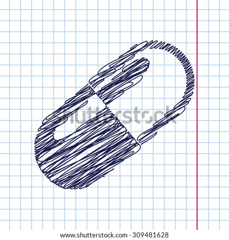 Vector pill icon isolated on copybook background. Eps10