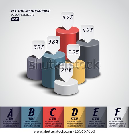 vector pillars with your indicators / business infographics template - stock vector