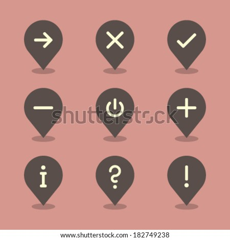 Vector Pin Iconset - Signs  - stock vector