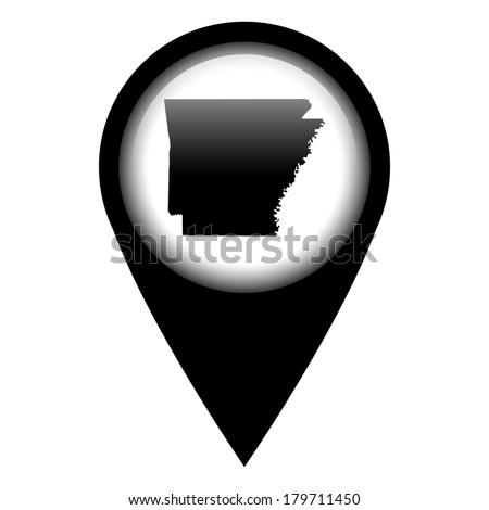 Vector pin with the map in - Arkansas - stock vector