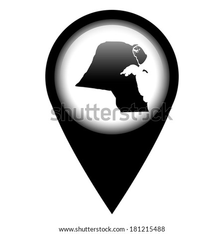 Vector pin with the map in - Kuwait - stock vector