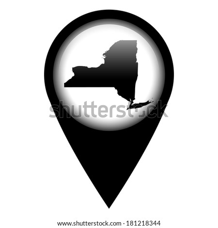 Vector pin with the map in - New York - stock vector