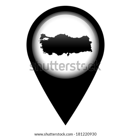 Vector pin with the map in - Turkey - stock vector