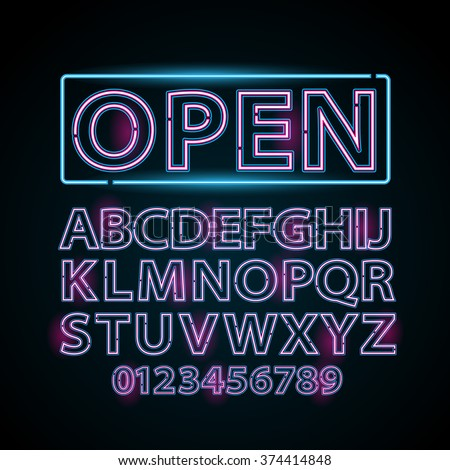 Vector pink and blue neon lamp letters font show vegas light sign theather - stock vector