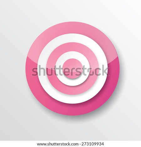 vector pink and white target icon. vector glossy target symbol design element - stock vector