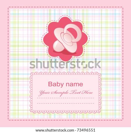 vector pink baby congratulation for girls - stock vector