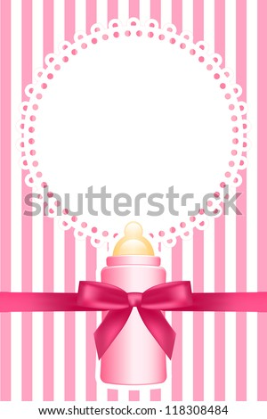 Vector pink background with baby bottle - stock vector