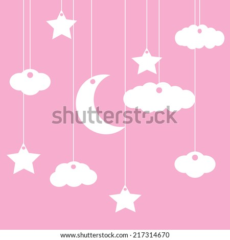Vector pink background with clouds, the new moon and the stars - stock vector