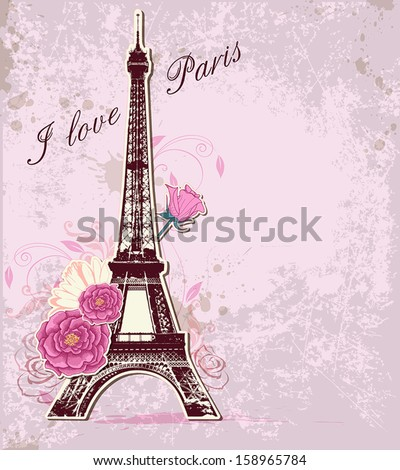 Vector pink background with roses and  Eiffel tower - stock vector