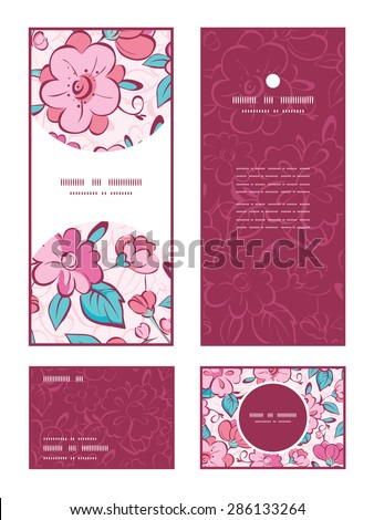 Vector pink blue kimono flowers vertical frame pattern invitation greeting, RSVP and thank you cards set - stock vector