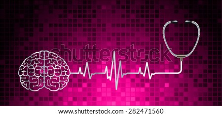vector pink brain processes technology, creative idea concept. wave - stock vector