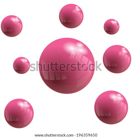 Vector pink Bubbles with reflect effect. Abstract Background - stock vector