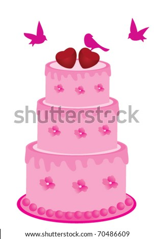 vector pink cake with flowers, birds and hearts