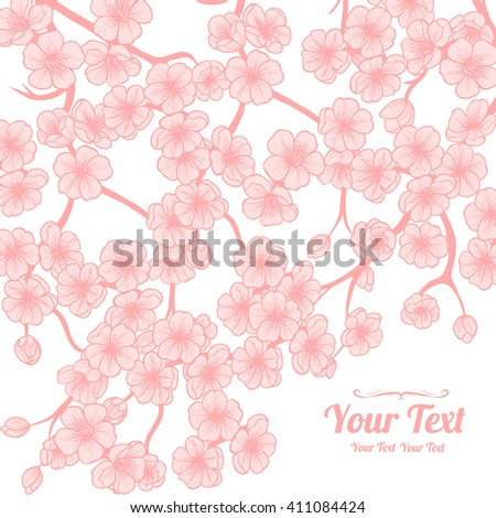 Vector pink cherry blossoms  frame corner pattern . Invitation or greeting card design.Vector illustration