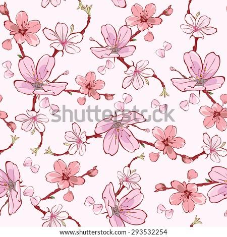 Vector Pink Cherry Sakura Flowers Seamless Pattern - stock vector
