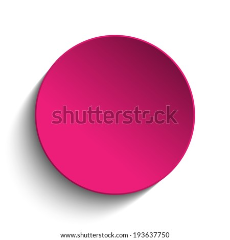 Vector - Pink Circle Button on White Background - stock vector