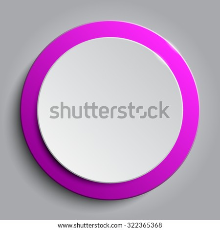 Vector.Pink circle button on white background. - stock vector