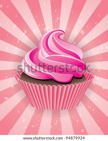 vector pink cupcake on retro background eps10 - stock vector