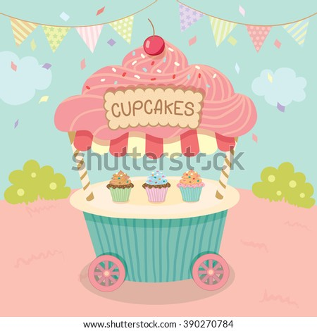 Vector pink cupcake push cart on blue background party.Pastel color cute style. - stock vector