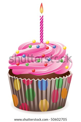 vector pink cupcake with burning candle