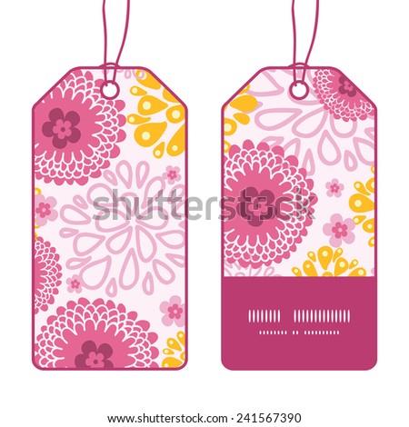 Vector pink field flowers vertical stripe frame pattern tags set - stock vector