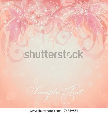 Vector pink flower background - stock vector