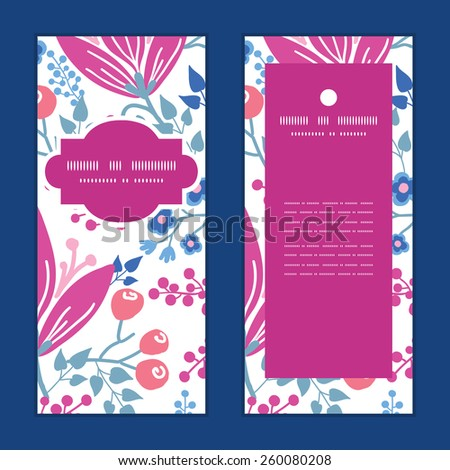 Vector pink flowers vertical frame pattern invitation greeting cards set - stock vector