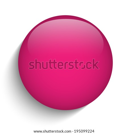 Vector - Pink Glass Circle Button Icon - stock vector