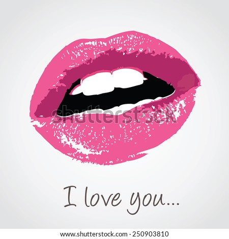 vector pink lips with love message - stock vector