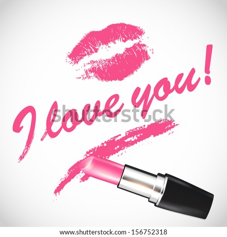 Vector pink lipstick; space for your text - stock vector
