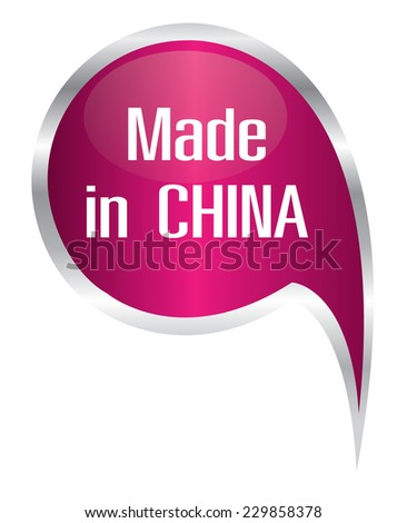 Vector - pink made in China icon speech bubble  - stock vector